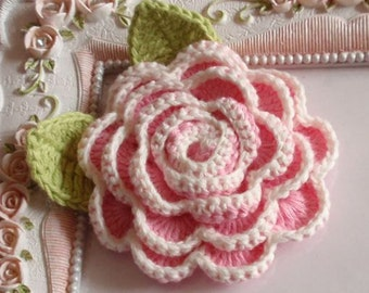 Crochet flower with leaves applique CH-046-01