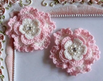 2 crochet flowers applique CH-052-01