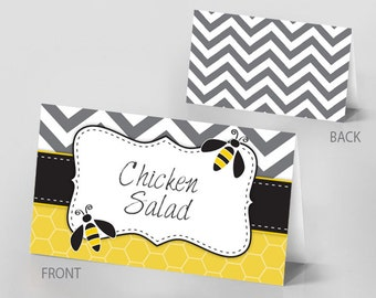 Bumble Bee Themed Table Tent Cards - Instant Download