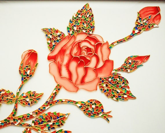 Rose glass painting glass art vitrage painting vitrail for How to do glass painting at home
