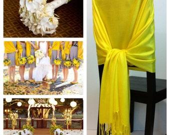 Yellow pashmina , pashmina scarf, pashmina shawls, wedding shawls, pashmina wrap, bridesmaid shawls, wedding favors, chair covers