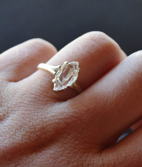 Rough Uncut Raw Diamond Ring Sterling Silver Engagement By