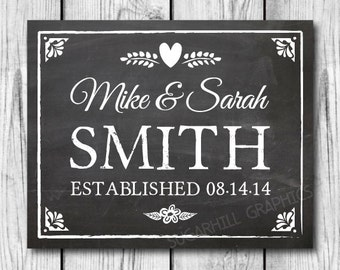 Chalkboard Wedding Sign, Custom Wedding Sign, Custom Established Wedding Sign, Printable Wedding Sign, Wedding Decor