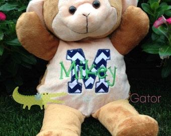 Monogrammed Stuffed Animal Monkey - Personalized Stuffed Animal - Baby Shower Gift
