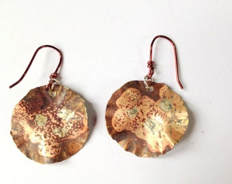 Hammered Brass circle earrings