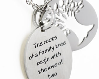 Family Tree Two Piece Stainless Steel Necklace