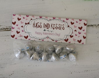 Valentine Bag Toppers - Printable - Instant Download - Hugs and Kisses
