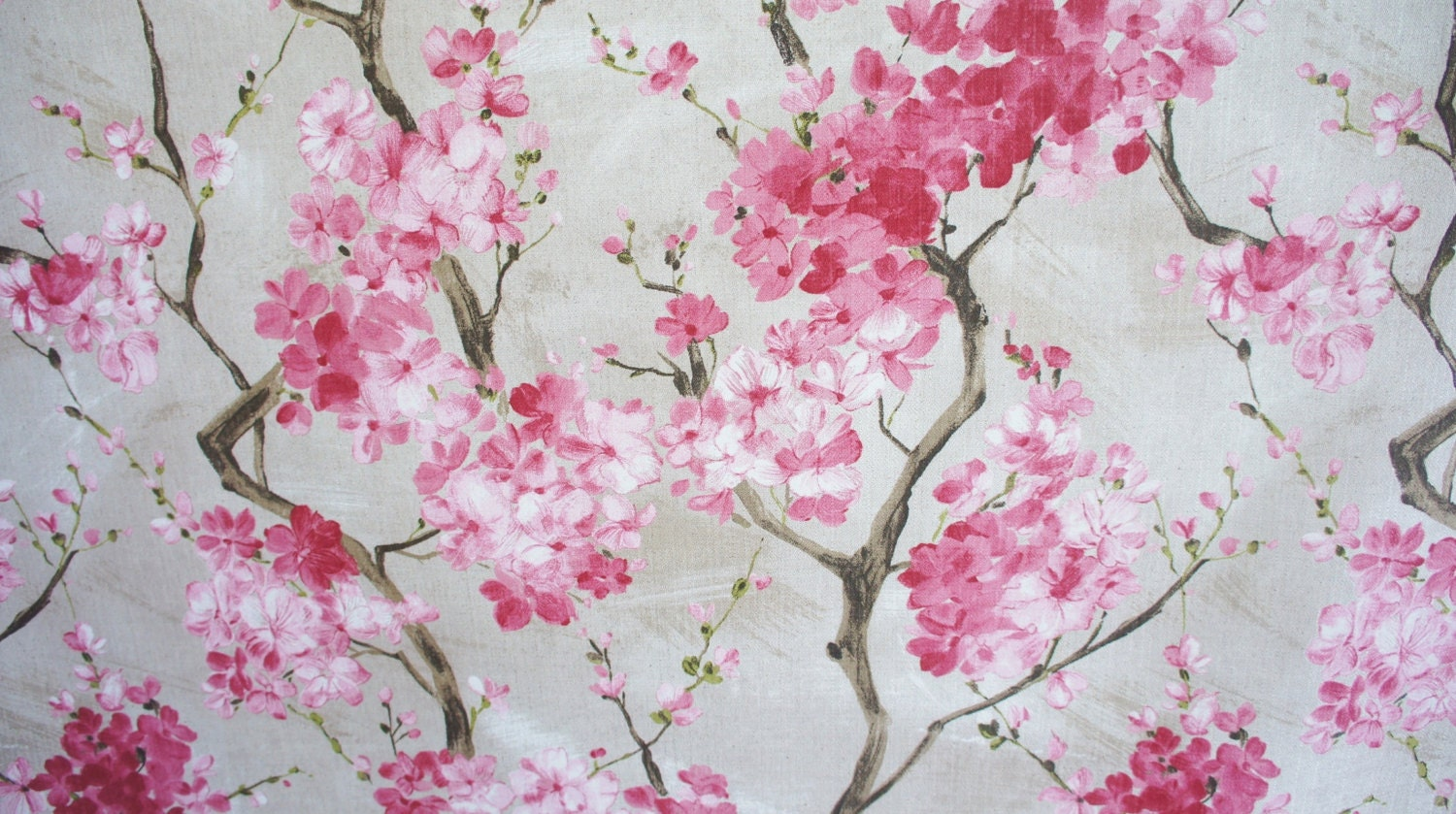 Cherry Blossom Fabric Pink Grey Floral Printed Cotton Textile ...