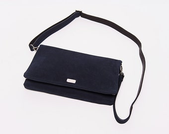 Handbag Trinity/ shoulder strap/ leather suede / navy # 44