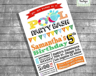 Pool Party invitation birthday pool party invite summer pool invitation digital printable invitation you print invitation 13158
