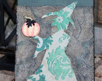 Halloween Witch Original Mixed Media Art. Paper, Lace and Acrylic Paint on Mini Canvas. Home Decor Wall/Easel/Shelf. 6x8 Canvas
