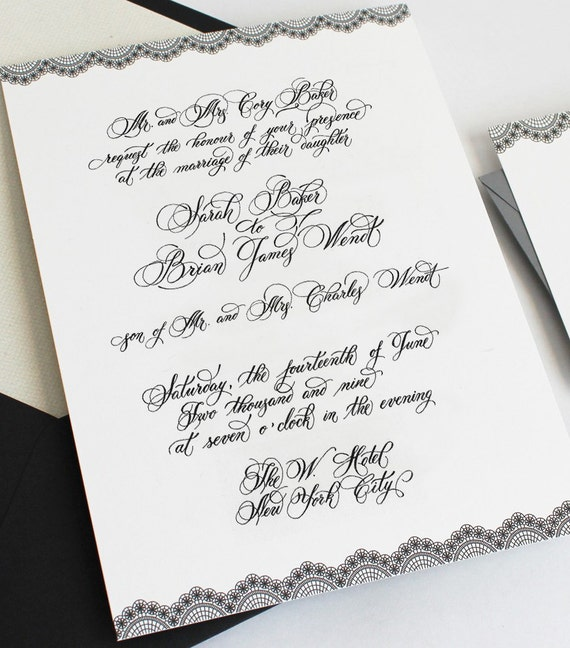 Custom Calligraphy Wedding Invitationhand Written Invitation