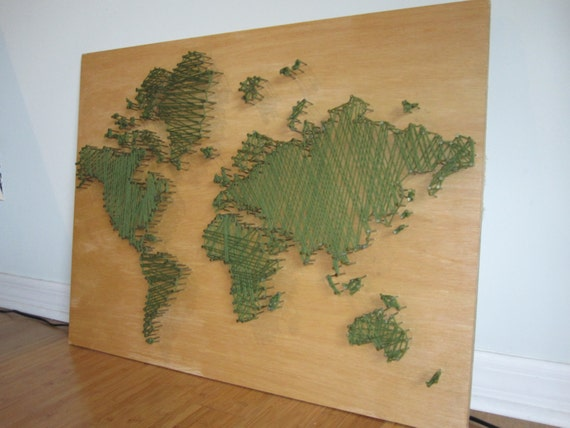 World Map String Art Green String Art World Map