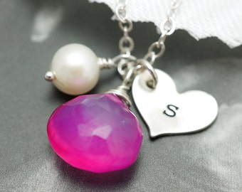 Bridesmaids gift set of 12 silver heart necklace with custom birthstones and pearl, bridesmaids jewelry, stamped initial