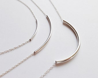 Serena (Silver) - 3 sizes of minimal curved tube sterling silver necklace