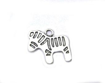6 Silver Zebra Charms