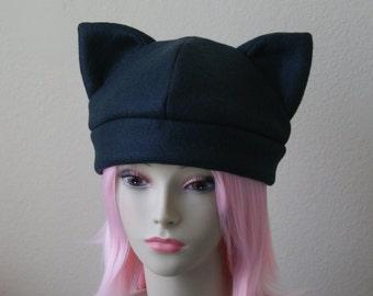 Fleece Cat Hat / SOLID BLACK Beanie Style Cap Cute Anime Neko Cosplay Cat Ears Kitty Ears Goth Punk Jrock Kawaii Japanese Fashion