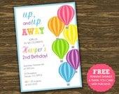 Hot Air Balloon Birthday Invitation - Girl - Printable - FREE pennant banner and thank you card with purchase