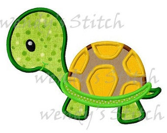 Turtle applique machine embroidery design digtial pattern