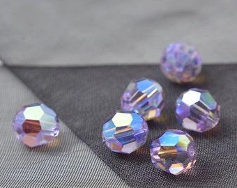 24 pcs 8mm Swarovski Crystal Round Beads 5000, Violet AB2X, Violet Opal AB, Violet Satin, SW-5000