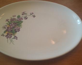 Vintage Purple Flower Platter Made in USA