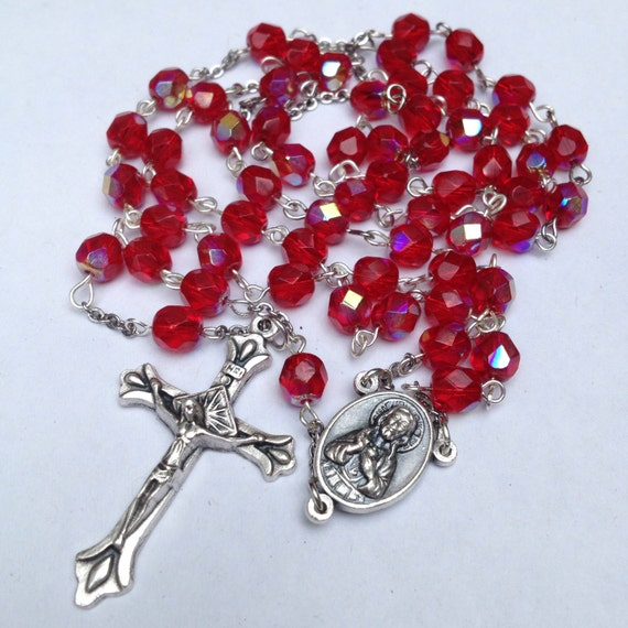 Red Ruby Beads: Catholic Rosary Ruby Red Glass Beads Sacred Heart By