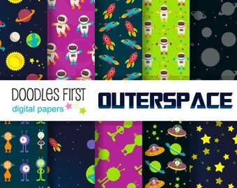 Outer Space Galaxy Adventure Digital Paper Pack Includes 10 for Scrapbooking Paper Crafts