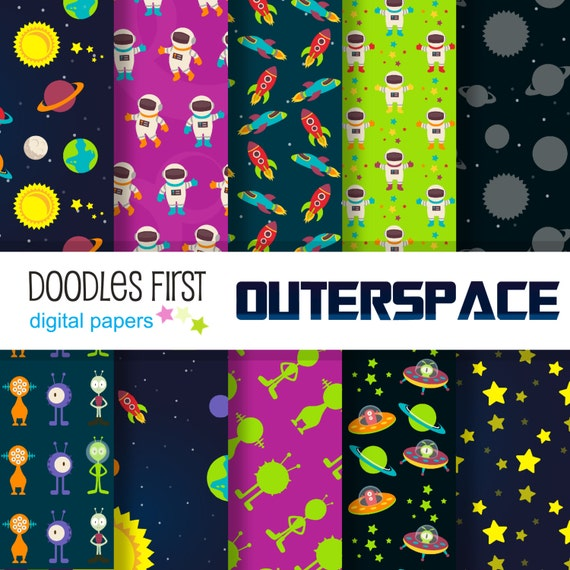 Outer space galaxy adventure digital paper pack includes 10 for Outer space paper
