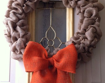 Burlap bubble wreath with orange burlap bow