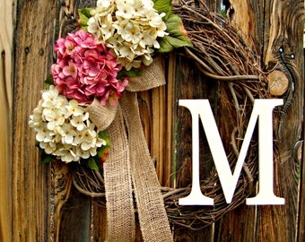 Pink and Cream Hydrangea Wreath with Monogram - Choose your Color  - Monogrammed Wreath - Wreaths - Door Wreath - Spring Wreath