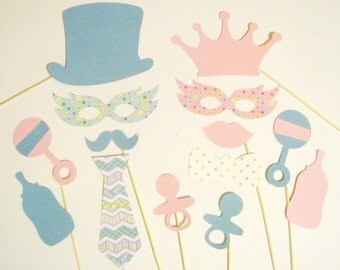 Gender Reveal Photo Booth Props 14 pc Baby Shower Photobooth Props Baby Girl Photo Props Baby Boy Shower Gender Reveal Party