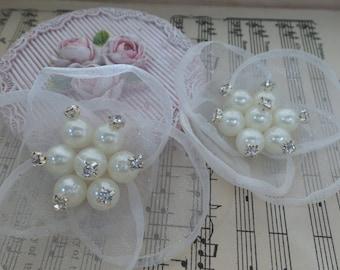 1pcs-Organza beaded flower/NF03-Rhinestone beaded flower/bridal headpiece
