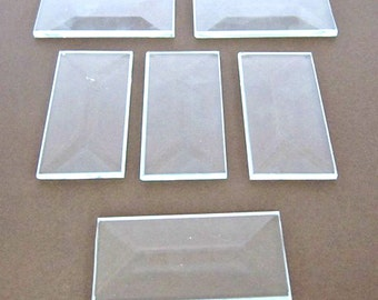 """6 pack of 1 x 2"""" Rectangle Clear Stained Glass Bevels that are Flat On The Back Side"""