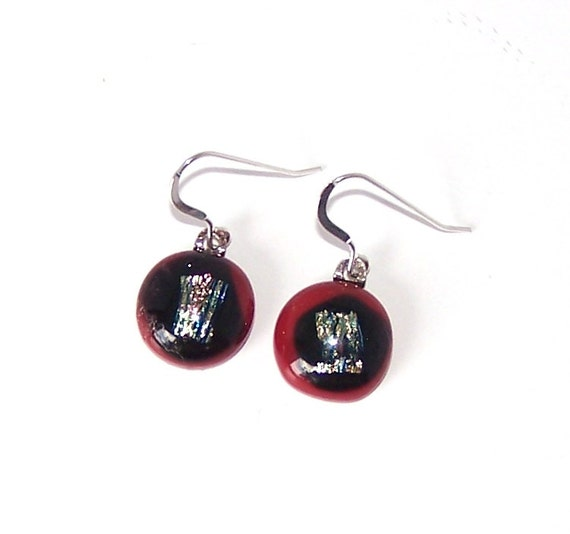 Red and black dangle glass earrings with green and blue for Red black and green jewelry