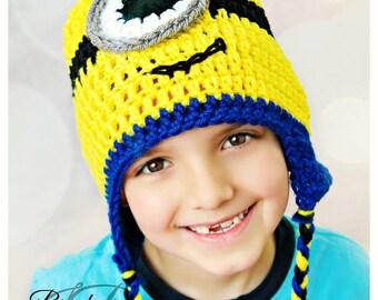 Minion Earflap Hat / Despicable Me 2 Beanie / Photo Prop / Adult Minion Hat