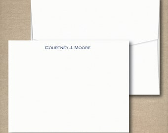 Personalized Stationery Flat Note Cards Set - SIMPLY STATED FLAT - Set of 12 Flat Personalized Stationery / Stationary note cards
