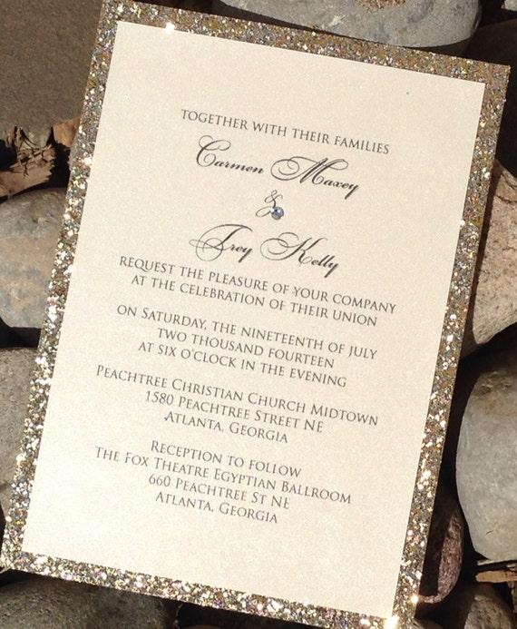 Glitter Wedding Invitation Glitter Bridal By
