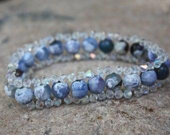 stretch bead bracelet Blue Marble swirl crystal ab