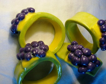 Set of 4 Hand crafted stoneware Grape Napkin Rings.