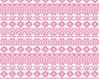 Pink and white tribal pattern craft  vinyl sheet - HTV or Adhesive Vinyl -  Aztec Peruvian medium pink pattern HTV927