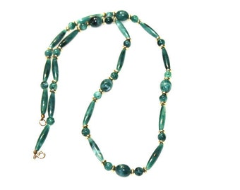 Vintage Green Lucite Swirl Beaded Necklace
