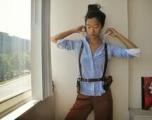 Harness belt with 2 bag /Leather harness belt/motorcycle bag/Unisex belt
