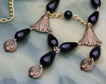 Lovely vintage Egyptian Revival Onyx Necklace