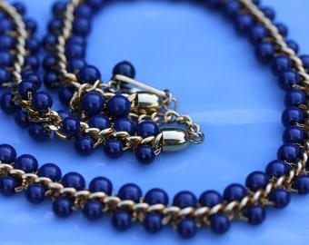 Vintage Napier Blueberry Glass Bead Necklace