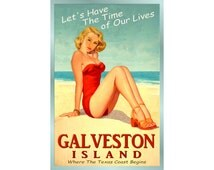 GALVESTON TEXAS -New Original Beach Pinup Travel Poster -available in 3 sizes - Time of Our Lives Bathing Beauty Ocean Art Print -165