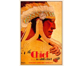 """Atchison Topeka and Santa Fe Railway SUPER CHIEF Poster - New Retro Profile Headress - available in 4 sizes up to 24""""x 36"""" - Art Print - 103"""