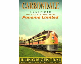 "CARBONDALE Illinois Central Railroad PANAMA Limitd Poster - in 3 sizes up to 24"" x 36"" -Original Retro Train Art Print 115"