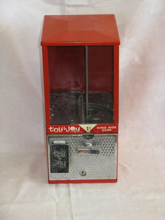 Toy N Joy Machine : Vintage mid century red metal vending machine with working key