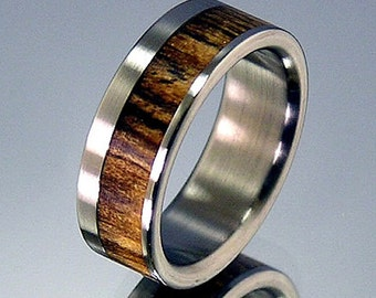 Bocote  Wood Offset Inlay Titanium Wedding Band or Ring