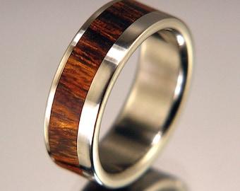 Desert Ironwood Wood Wide Offset Inlay Titanium Wood Wedding Band or Ring